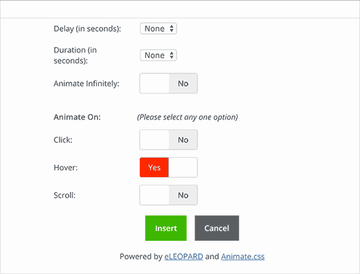 Select when to run the animation